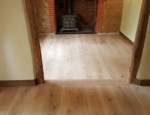 The sanded oak floor of a 200 years old cottage