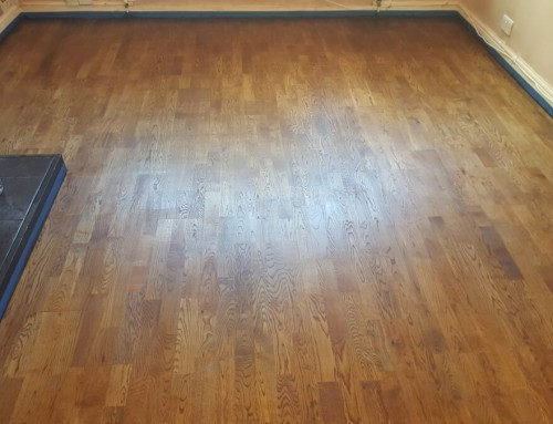 Resoration of engineered oak floor with walnut stain