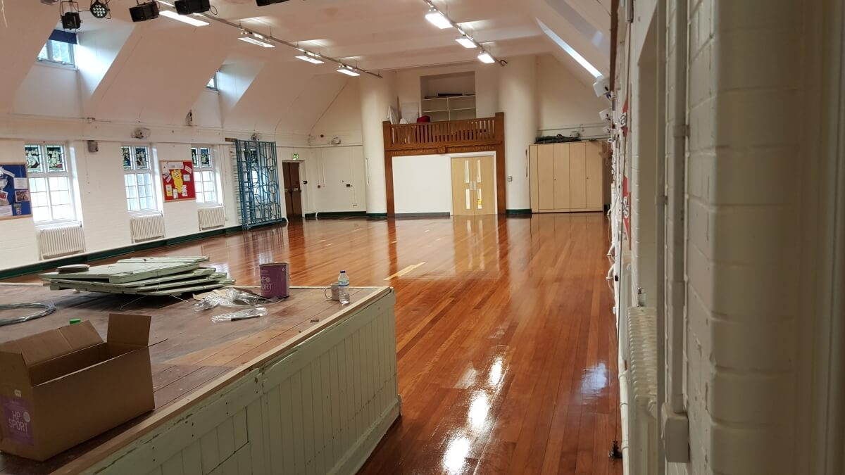 The school sporting hall is ready for play