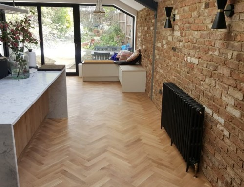Carefully fitted herringbone parquet finished with white oil